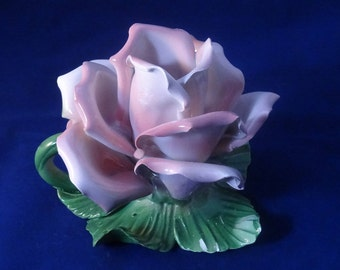 Porcelain Flower, Capodimonte Style, Candle Holder, Pink Rose, Made Italy
