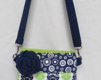 purse bag handbag sachel crossbody strap in blue and green