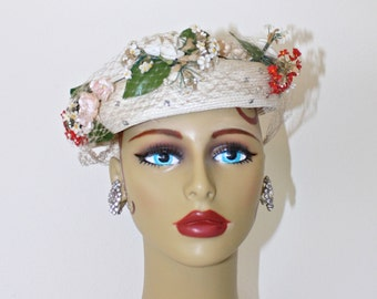 1950s White Fascinator Hat . Vintage 50s Ivory White & Floral WEDDING Hat . Rhinestones and Netting Veil