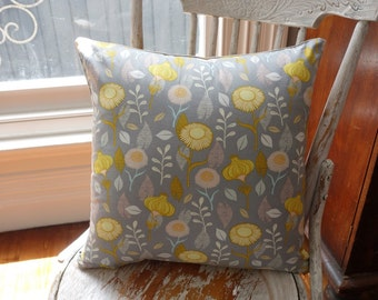 """Timber and Leaf Collection Cushion Cover/pillow in """"Gerbera in Grey"""" by Sarah Watts for Blend"""