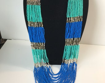 Vintage Handmade Turquoise, Blue, and Silver Torsade Necklace.