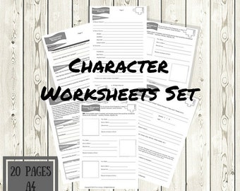 Character Noveling Set - Printable - Black & White 2018 Edition - A4 - 8.5x11 - Writer Aides