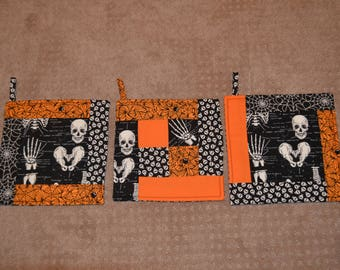 Reversible, Glow-In-The-Dark, Halloween-Themed Set of Three Hot Pads and a Table Runner