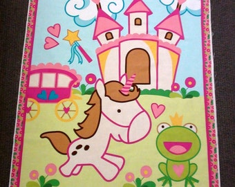Baby quilt panel. Fabric for kids. Nursery fabric. Novelty fabric. Princess Castle fabric. Unicorn fantasy fabric panel. Cotton quilting.
