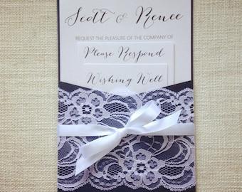Wedding Invitation Navy and White Lace pocket