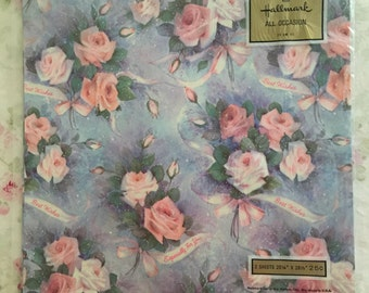 Vintage Hallmark All Occasion Wrapping Paper X 2 Sheets