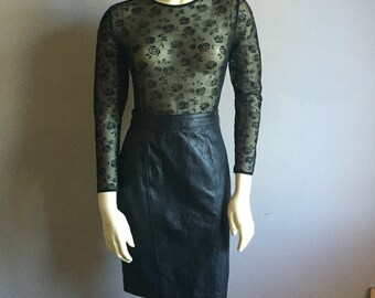 black leather pencil skirt 90s vintage mini slim 1990s goth hipster club kid fitted small S 6 womens princess seam
