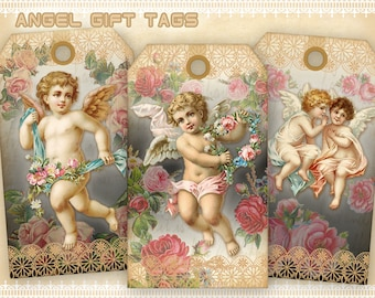 Vintage angel gift tags Printable gift tags on Digital collage sheet for Paper craft Digital tags Instant download - ANGEL GIFT TAGS
