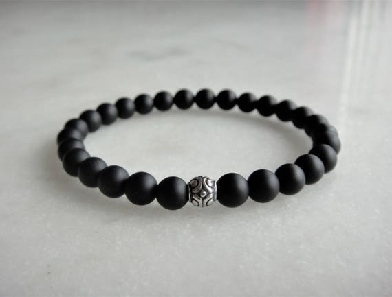 and bracelet matte beaded black onyx jewelry mens s men stretch amazonite item