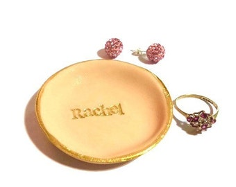 Name Ring Dish, Custom Name Jewelry Dish, Personalized Jewelry Dish, Jewelry Organizer, Gold Ring Dish, Personalized Wedding Favors