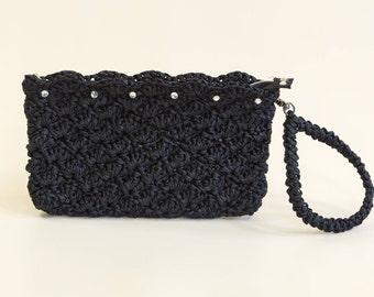 Spring sale Black Crochet Clutch Bridesmaids Black Purse Black Satin Clutch Satin Ribbon Purse Weddings Handbag Wristlet
