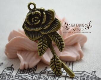 Set of 6 QZW044 charms, Bronze, flowers