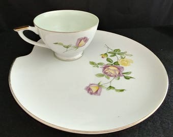 Lefton China Hand Painted Snack Plate & Cup