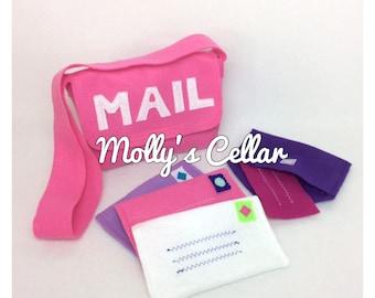 Pink felt mail bag with 4 working felt envelopes, felt mail, toy mail, play mail, make believe, valentine, felt toy, felt envelopes