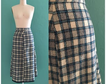 vintage 60's blue plaid skirt // midi wool skirt
