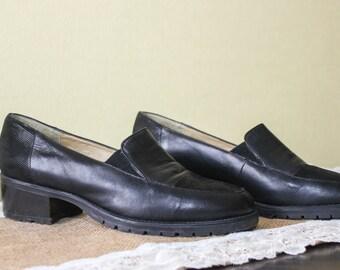 Vintage Shoes Women's Leather Shoes Sköna Marie Swedish Black Oxfords Never Used Shoes Festival Shoes Vintage Office Shoes