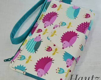 Hedgehog  Wallet Wristlet - Custom - Made to order - Pink Wallet - Turquoise  Wallet - Swoon Pearl
