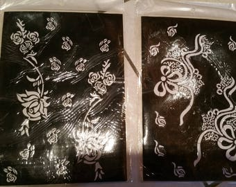 5  Reusable hand and arm Mehndi Henna Rubber Self Stick Stencil Template