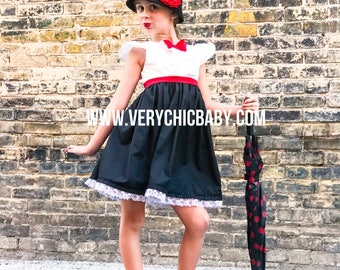 Mary Poppins Costume, Mary Poppins Costume Girls, Mary Poppins Dress, Mary Poppins Dress Girls, Mary Poppins Outfit, Mary Poppins