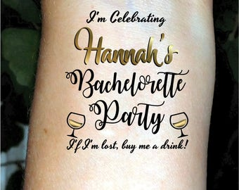Bachelorette tattoos, Bachelorette party tattoo, custom tattoos, temporary tattoos, personalized tattoos, gold tattoos