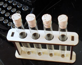 Four Large Custom Test Tubes with Corks and Holder