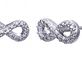 White Natural Diamond Beaded Infinity Stud Earrings In 14K Gold Over Sterling Silver