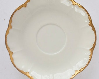 Haviland Limoges RANSON Saucer White Scalloped Edge Gold