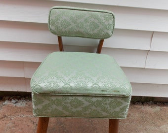 Vintage-Green-Damask-Fabric-Covered-Sewing-Chair-with-Lift-Seat