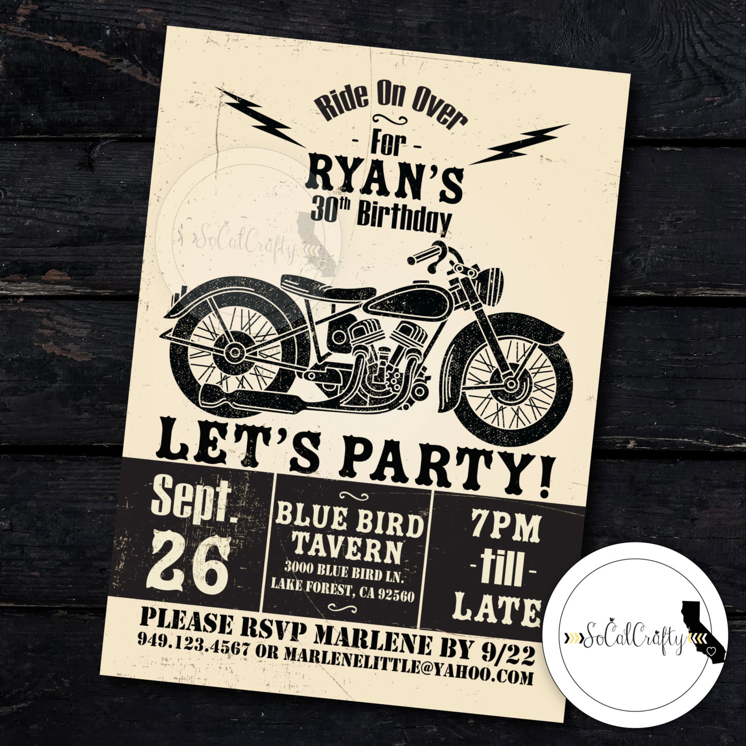 Motorcycle Birthday Party Invitation Poster Vintage