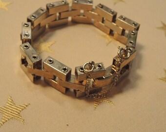 Vintage Industrial Style Bracelet, Art Deco Bracelet, Chunky gold tone bracelet