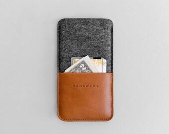 iPhone 8 felt case with money pocket, iPhone 7 Plus sleeve money wallet cardholder | MORAINE