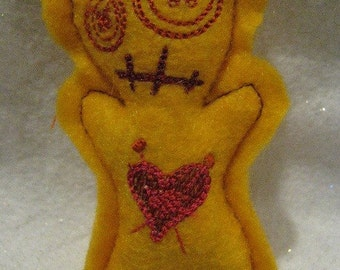 Voodoo Doll Pin Cushion or Pocket Pal - Yellow with Purple, Pink and Orange