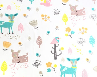 Woodland animals poplin fabric 100% cotton, deer, rabbits and birds on a white background, large print