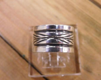 Wide Sterling Silver Stamped Band Size 9.75