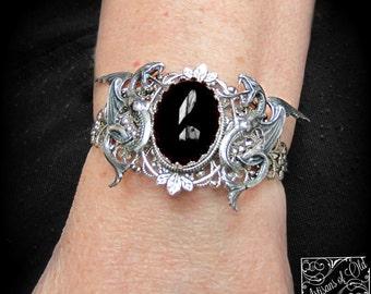 Silver Dragons Cuff, Black Onyx Bracelet Cuff, Melusine Cuff, Red Jade Cuff, Dragons Bracelet, Made to Order