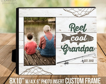 Grandpa frame father's day Personalized   fishing father's day gift   grandpa fisherman photo frame  - great gift for Grandpa   MDF1-107