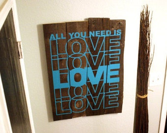 Wall Decal Quote All You Need Is Love - Vinyl Text Wall Words Stickers Art Graphics Custom Home Decor
