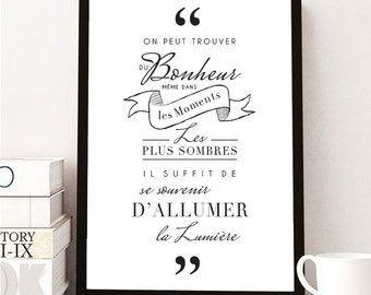 """POSTER HARRY POTTER """"You can find happiness"""" + frame"""