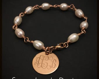 Engraved Wire Wrapped Pearl Bracelet - rose gold filled wire and 1 sided disc - genuine white pearls -your monogram -1 or 3 initials letters