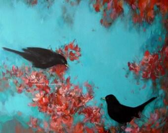 Black birds in Blossom from Original Painting by Heidi Langridge