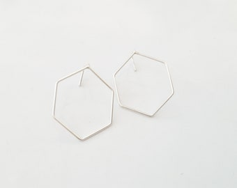 Beth (large earrings) - sterling silver geometric, hexagon, open geo ear sleepers
