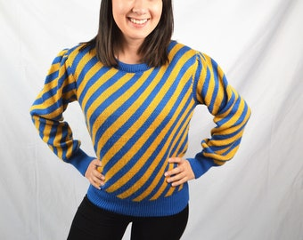 Vintage 80s 90s Blue Yellow Striped Sweater