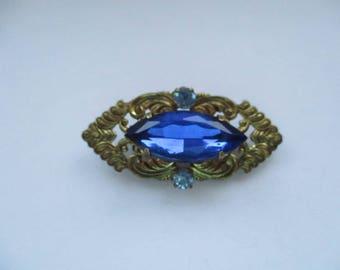Vintage Gold Tone, Czech Filligree Brooch with Blue Glass Rhinestones, Czech Brooch, Czech Pin, Czechoslovakian Jewellery