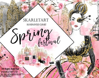 Spring Clipart Fashion Clipart Watercolor Clipart New York  Fashion Chanel Parfume Cherry Blosssom Pink Gold Planner Cover