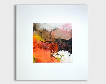 Originele abstract schilderij op karton, originele kunst, abstracte kunst en kleine acryl illustraties met passe-partout, neon oranje bruin, gematteerd