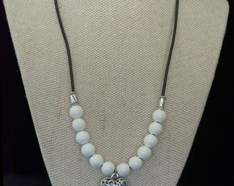 White and Silver Heart Charm Necklace
