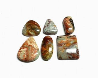 6 pcs , Crazy lace agate cabochon , high polishing , natural stone , flat back cabochon , code B2013
