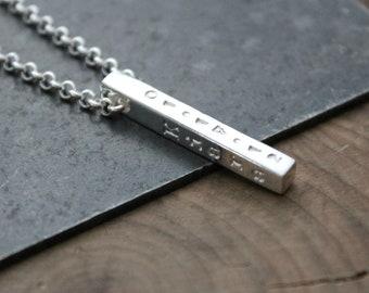 Custom Silver Bar Necklace, 4 Sided Bar, Men's Necklace, Woman's Necklace, Personalized Necklace, Family Necklace, Custom Silver - Lucas