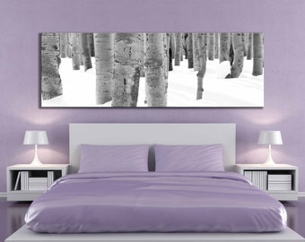 Large panoramic 20 x 60 or 12 x 36 black and white aspen tree wall art snow photograph nature home decor fine art over the bed winter canvas