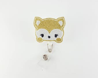 Fox - Vinyl Felt Badge Reel - Nurse Badge Holder - RN Badge Reel - Retractable Badge Clip - Name ID Badge - Pediatric Badge - Medical Badge